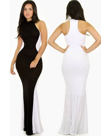 Swerve Halter Two-Tone Evening Dress - Black - White