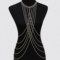 Tassel Design Gold Body Chain