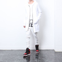Pyrex Extended Side Zipper Unisex Hoodie White