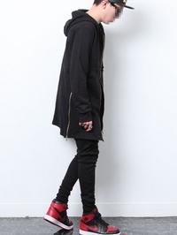 Pyrex Extended Side Zipper Unisex Hoodie - Black