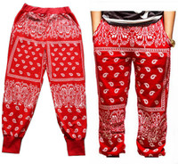 Paisley Bandana Harem Hip Hop Jogging Sweatpants - Red