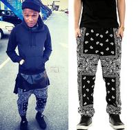 Unisex Paisley Bandanna Harem Hip Hop Jogging Sweatpants Black