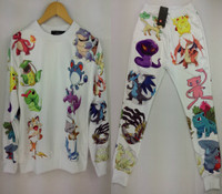 Unisex Cartoon Joggers and Pullover Sweater - White Set