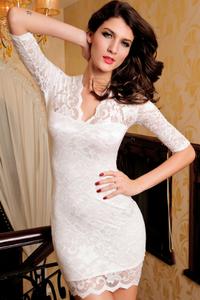 Half Sleeves Lace Mini Clubwear Dress White and Black