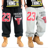 Chicago Bulls 23 Thick Fleece Sweatpants Black and Grey