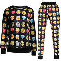 Unisex Black Emoji Sweatpants Joggers and Sweatshirt Set Brytcouture Bryt Couture