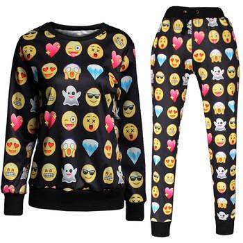 Unisex Black Emoji Sweatpants Joggers and Sweatshirt Set Brytcouture Bryt Couture