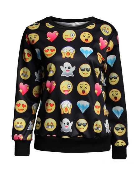 Unisex Black Emoji Pullover Sweatshirt