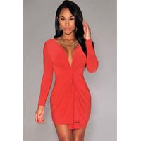 Sexy Long Sleeves Ruffle Front  Mini Dress