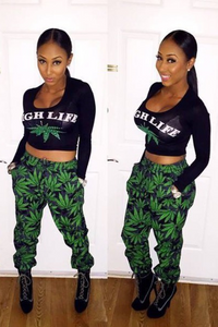 Two Piece Crop Top and Joggers Jumpsuit Set high life crop top
