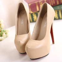 European Party Round Toe Stiletto Super High Apricot PU Pumps