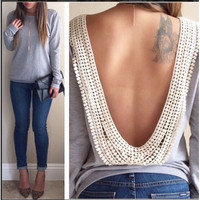 Long Sleeves Backless Floral Lace Trim Cotton Blend T-shirt