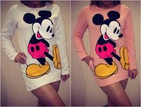 2015 Long Sleeves Cartoon Print Women Dress White and Pink