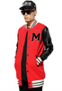Rihanna's Moschino Oversized Leather Patchwork Varsity Jacket Red