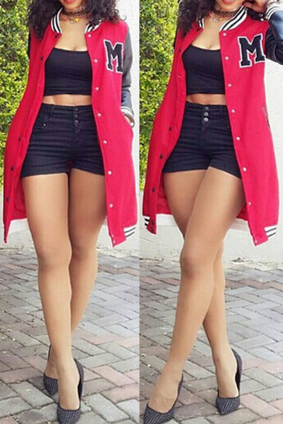 Rihanna's Oversized Leather Patchwork Varsity Jacket Red