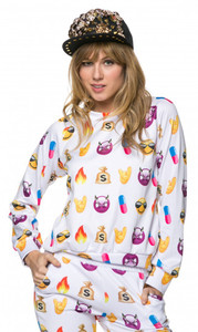 Bad Girl Emoji Print Long Sleeve Sweater White