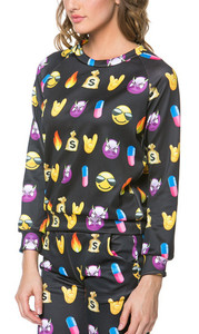 Bad Girl Emoji Print Long Sleeve Sweater Black