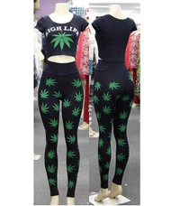 Leaf Weed Cannabis Print Crop Top and High Waist Leggings Set From BrytCouture
