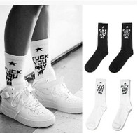 SSUR Fuck You Pay Me Socks in White, Black & Red @ BrytCouture