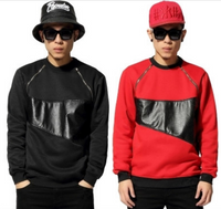 2015 Hip Hop Men's Gold Zipper Leather Patchwork Sweater