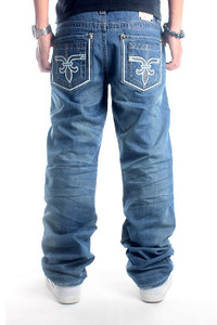 Hip Hop Wash Light Blue Casual Loose Denim Skateboard Pants