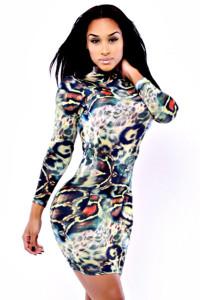 O-Neck Long Sleeves Mini Bodycon Dress