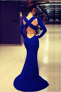 Long Sleeves Crossed Backless Blue Trailing Mermaid Maxi Dress