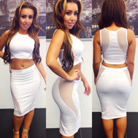 Tank Sleeve White Polyester Two-piece Mini Dress