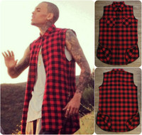 Chris Brown Extended Sleeveless Buttondown Unisex Plaid Shirt