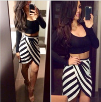Sexy Long Sleeves Asymmetrical Stripped Black Two-piece Knee Length Skirt Set