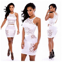 Tank Sleeve Lace Patchwork White Polyester Two-piece Mini Dress