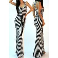Sexy Spaghetti Strap Maxi Striped Dress Without Belt