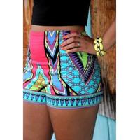 Geometric Print Button Fly Blending Mid Skinny Shorts