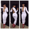 Sexy Backless White Polyester Skinny Jumpsuits