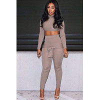 Turtle Neck Long Sleeves Two-piece Skinny Jumpsuit - Brown