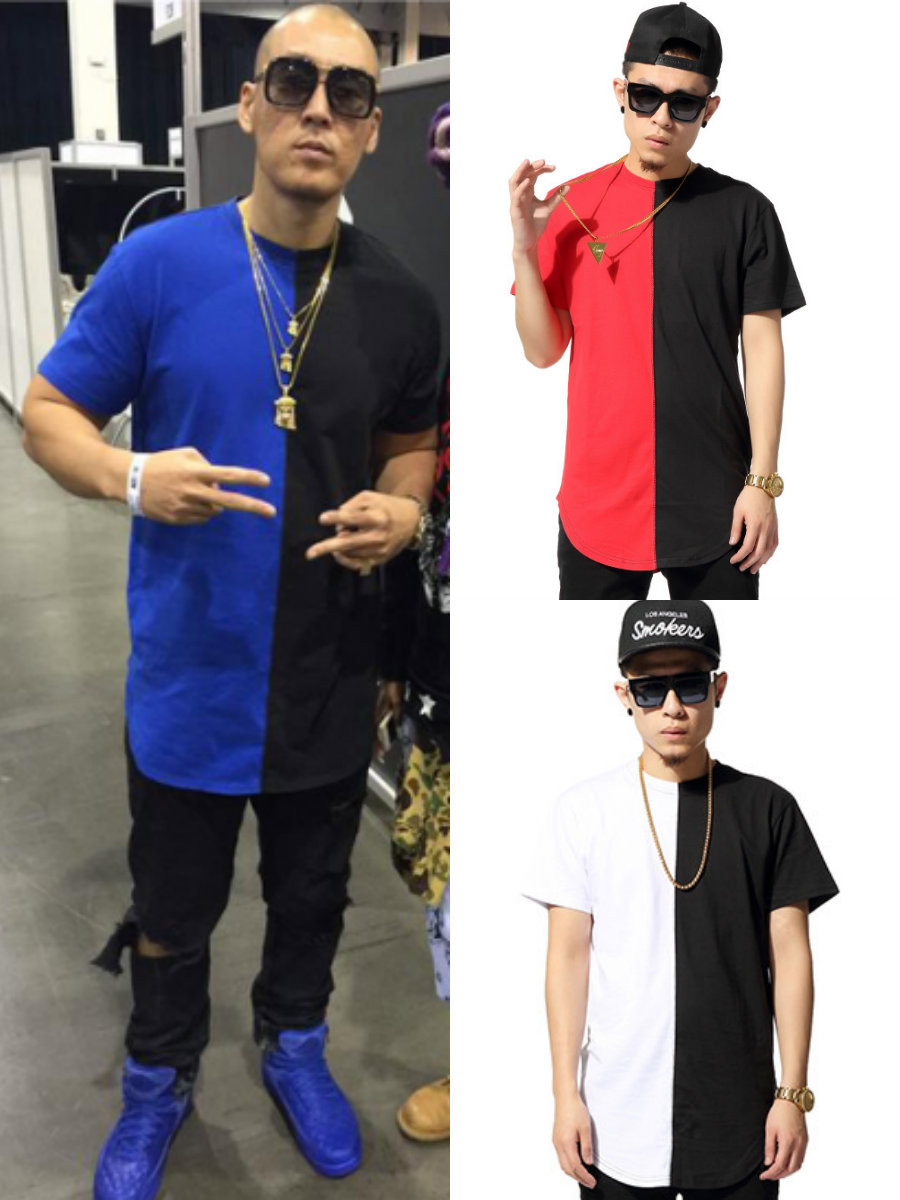 2015 hip hop style half half streetwear tshirt. Black Bedroom Furniture Sets. Home Design Ideas