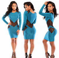 Long Sleeves Mesh Patchwork Two-piece Mini Dress