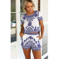 Sexy O-Neck Floral Print Blue Blending Jumpsuits