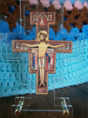 Standing San Damiano Cross in Plastic Frame