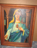 UR26 Picture by Number Immaculate Heart of Mary in Wooden Frame