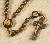 Padre Pio Wooden Bead and Cord Rosary