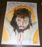 Jesus, Forsaken and Forgiving. Watercolor by Dom Julian Stead, OSB.