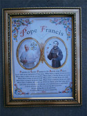 Pope Francis and St Francis Framed Print with Prayer of St Francis