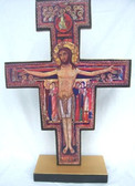 Hand Crafted 16 inch Wooden Standing San Damiano Crucifix
