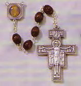 Wooden Beaded (8mm) Engraved Rosary with Metal San Damiano Crucifix