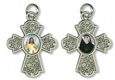 Saint Faustina and Divine Mercy cross pendant and charm