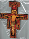 San Damiano Wall Crucifix with Gold Accents - 10""
