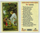 Jesus w/ children Beatitudes, Laminated prayer card