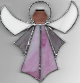 Large Sun Catcher glass window Angel in Pink