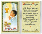 Laminated First Communion Prayer Card for Ethnic Boy. In honor of my First Communion.